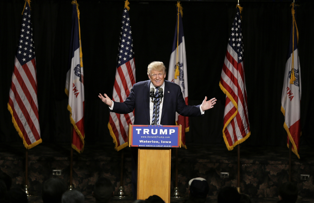 Republican presidential candidate Donald Trump speaks during a campaign stop at the Electric Park Ballroom, Wednesday, Oct. 7, 2015, in Waterloo, Iowa. (Charlie Neibergall/AP)