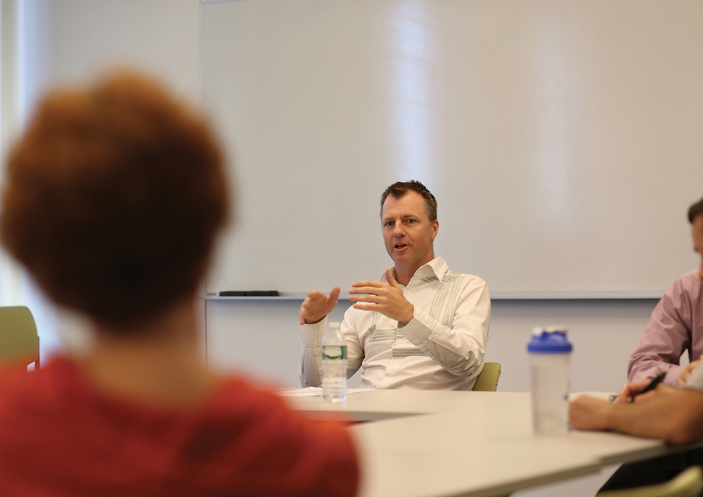 "Brendon O'Connor, associate professor of American Politics at the University of Sydney in Australia, speaks during his lecture ""The Ideology of American Exceptionalism"" on Wednesday, Oct. 7, 2015. (Jackson Haigis/The Daily Campus)"