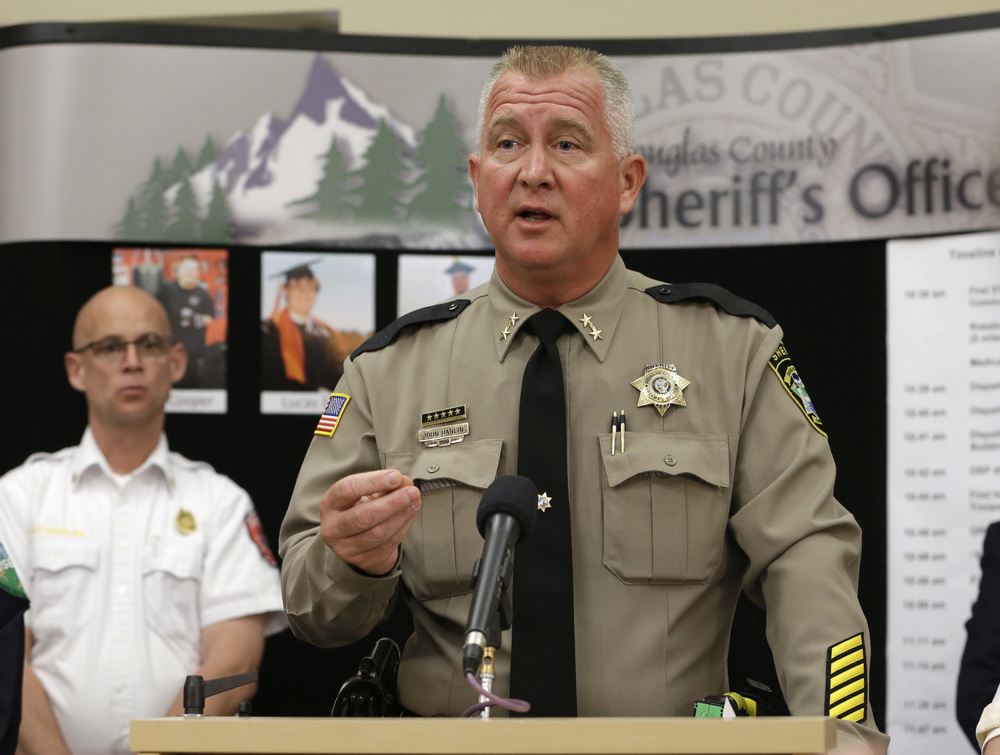 In this Oct. 3, 2015, file photo, Douglas County Sheriff John Hanlin speaks during a news conference, in Roseburg, Oregon. (Rich Pedroncelli, file/AP)