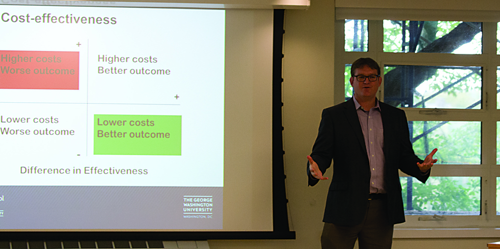 Dr. Michael Long, assistant professor at the Milken Institute of Public Health of George Washington University, speaks during his lecture on Friday, Oct. 9, 2015. (Rebecca Newman/The Daily Campus)