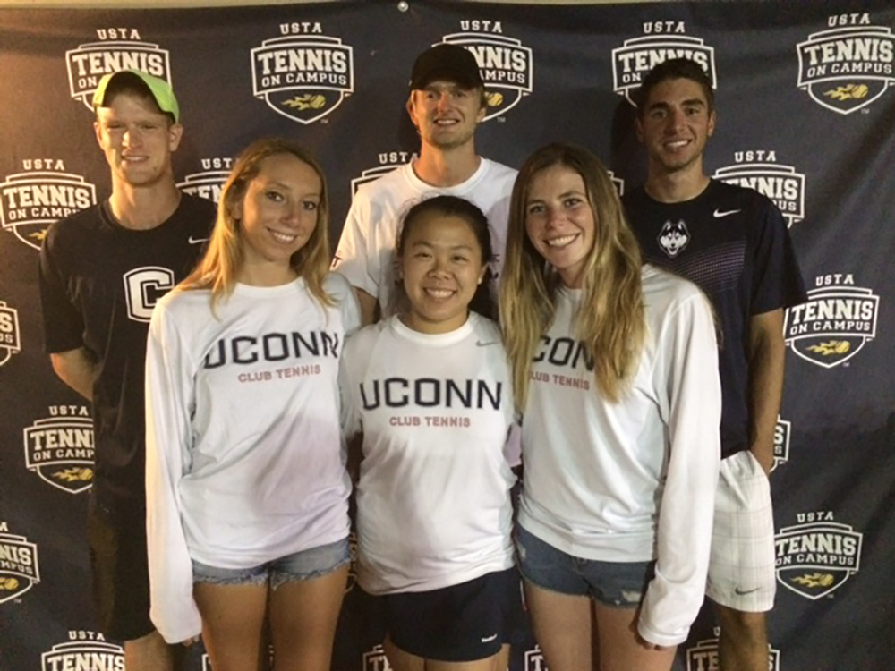 Top left to right: Jay Latimer, Colin Melford and Martin Porebski stand behind teammates Alyssa Migliorini, VIctoria Ho and Jessica DeRoberti at the USTA Tennis on Campus Fall Invitational in Hilton Head, South Carolina. (Courtesy/Jay Latimer)