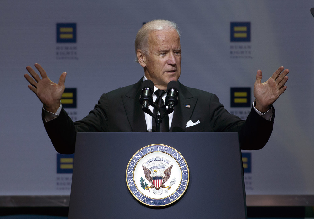 Vice President Joe Biden speaks during Human Rights Campaign National Dinner at Walter E. Washington Convention Center, in Washington, Saturday, Oct. 3, 2015. (Jose Luis Magana/AP)