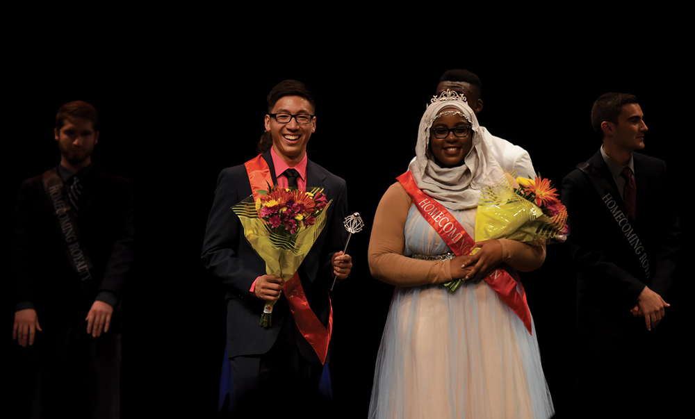 Homecoming king William Meng and queen Haddiyyah Ali are seen at the Jorgensen Center for the Performing Arts on Tuesday, Oct. 13, 2015. (Allen Lang/The Daily Campus)