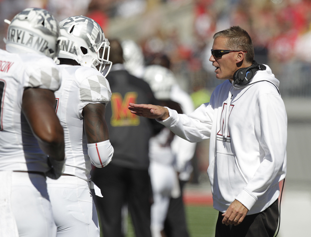 Maryland head coach Randy Edsall instructs his team against Ohio State during the second quarter of an NCAA college football game Saturday, Oct. 10, 2015, in Columbus, Ohio. Ohio State beat Maryland 49-28. (Jay LaPrete/AP)