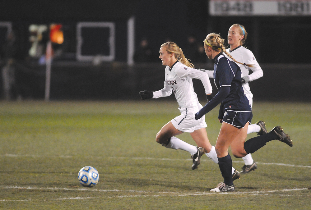 UConn women's soccer forward Rachel Hill runs upfield during the Huskies' game against New Hampshire at Joseph J. Morrone Stadium on Nov. 15, 2014. (File Photo/The Daily Campus)