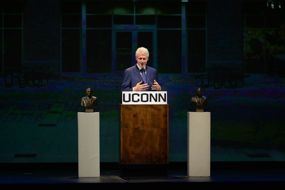 Former president Bill Clinton speaks prior to being awarded the Thomas J. Dodd Prize in International Justice and Human Rights at the Jorgensen Center for the Performing Arts in Storrs, Connecticut on Thursday, Oct. 15, 2015. (Ashley Maher/The Daily Campus)