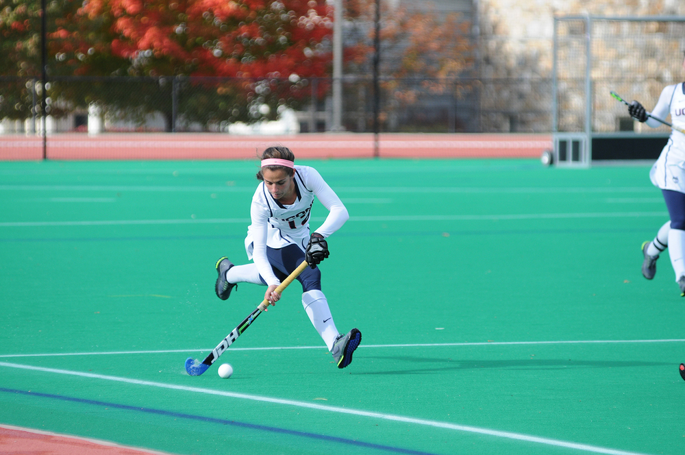 UConn junior midfielder Olivia Bolles runs upfield during the Huskies' game against Boston University at the Sherman Family Sports Complex in Storrs, Connecticut on Sunday, Oct. 18, 2015. (Jason Jiang/The Daily Campus)