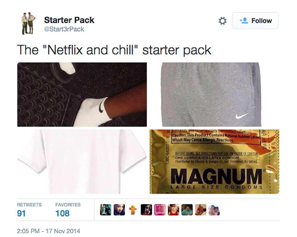 "The compound-noun ""Netflix and chill"" is casually used by students as an invitation to hook up. The Twitter handle @Start3rpack put together a collage of the necessities for a ""Netflix and chill"" hangout: casual clothes (for the Netflixing) and a condom (for the not-chilling). (Courtesy/@Start3rpack)"