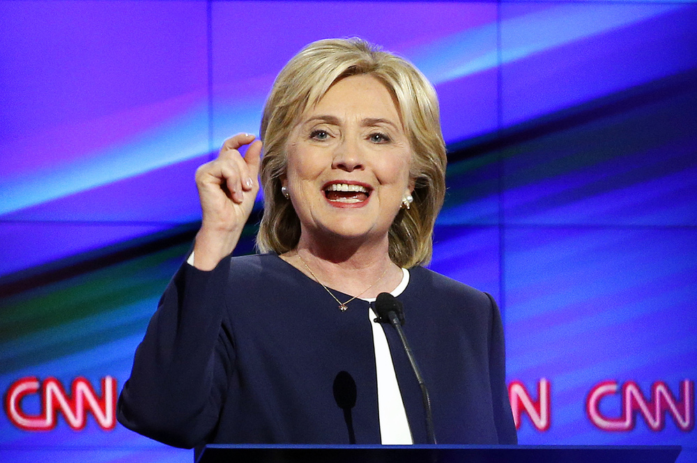 In this Oct. 13, 2015, photo, Democratic presidential candidate Hillary Rodham Clinton speaks during the Democratic presidential debate in Las Vegas. (John Locher/AP)