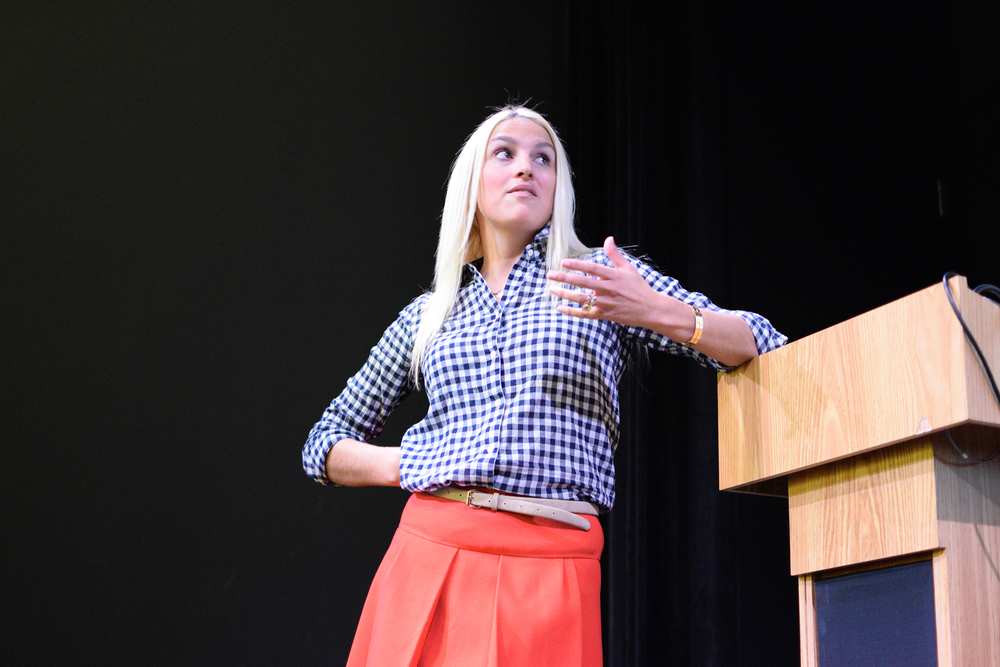 "Schoolteacher and survivor Kaitlin Roig-DeBellis is seen during her reading of her new book, ""Choosing Hope"" at UConn on Wednesday, Oct. 21, 2015. (Grant Zitomer/The Daily Campus)"