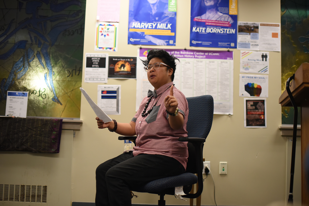 Kay Ulanday Barrett speaks during his spoken word poetry reading at UConn's Rainbow Center in the Student Union on Thursday, Oct. 22, 2015. (Zhelun Lang/The Daily Campus)