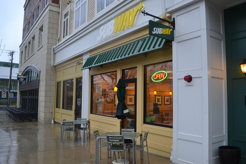 In this file photo, the Subway storefront is seen in Storrs Center. Subway recently announced its plans to no longer offer meat raised with antibiotics. (File Photo/The Daily Campus)