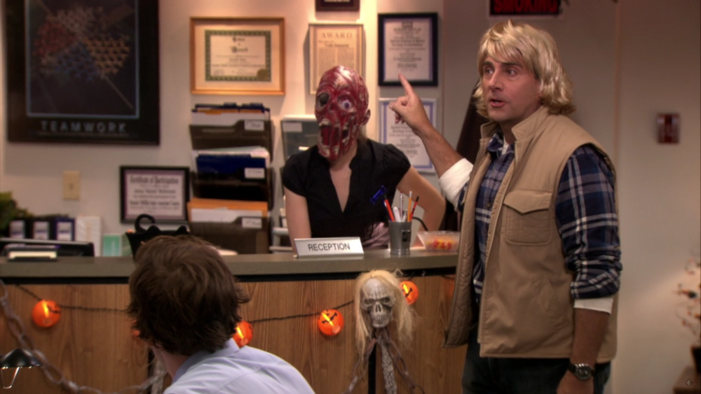 "In this screenshot, ""The Office"" character Michael Scott (Steve Carrell) is seen dressed as SNL character MacGruber during the Season 7 episode ""Costume Contest."" (Screenshot)"