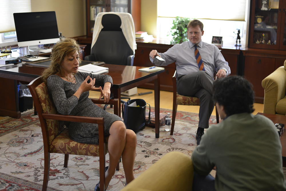 In this photo, UConn president Susan Herbst is seen in her office during her office hours on Wednesday, Oct. 21, 2015. Herbst held a question and answer session with students, faculty and alumni on Monday to discuss the the future of the university. (Jason Jiang/The Daily Campus)