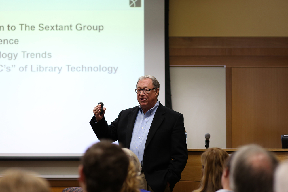 In this photo, Mark S. Valenti, president and CEO of technology consulting firm The Sextant Group, speaks at the Homer Babbidge Library's Class of 1947 meeting room on Tuesday, Oct. 27, 2015. (Jackson Haigis/The Daily Campus)