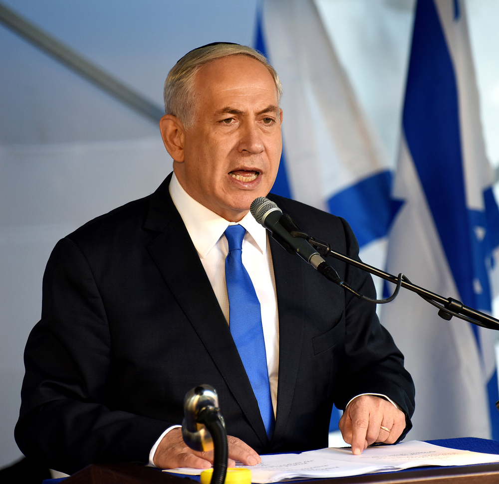 Israeli Prime Minister Benjamin  Netanyahu  speaks during the official memorial ceremony marking the 20th anniversary of the assassination of the late Prime Minister Yitzhak Rabin in the Mt. Herzl Cemetery in Jerusalem, Israel, Monday, Oct. 26, 2015. (AP)