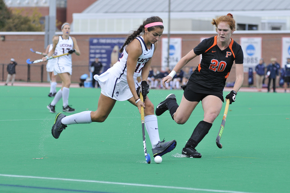 Junior Olivia Bolles moves the ball during UConn's victory over Princeton at the Sherman Family Sports Complex in Storrs, Connecticut  on Oct.  25, 2015. UConn will attempt to finish their perfect season this weekend against Georgetown. (Jason Jiang/The Daily Campus)