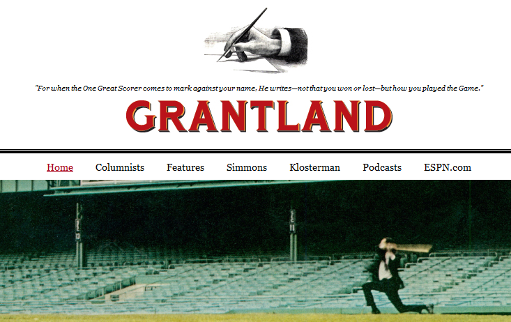 On Friday, Oct. 30, ESPN delivered a horrible shock when they publicly announced the permanent suspension of Grantland, their offshoot online sports and pop culture publication. (Screenshot)