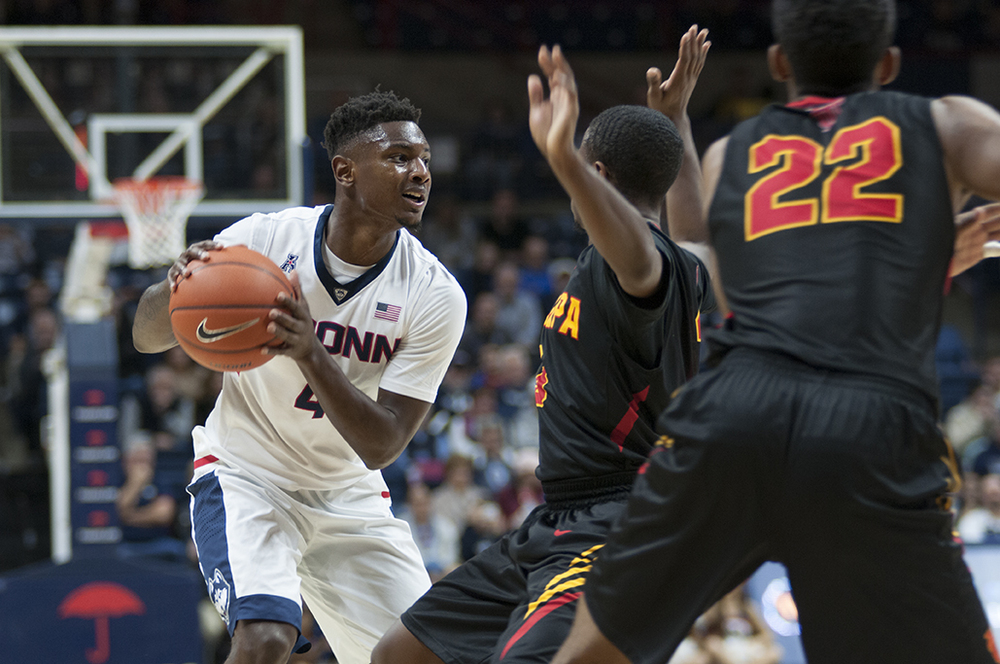 UConn graduate student guard Sterling Gibbs pivots with the ball during the Huskies' exhibition game against Tampa at Gampel Pavilion on Sunday, Nov. 1, 2015. UConn defeated Tampa 88-72. (Bailey Wright/The Daily Campus)