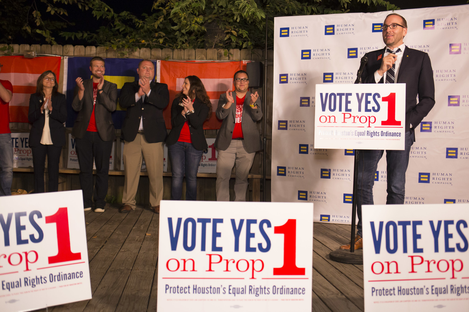 Human Rights Campaign President Chad Griffin speaks to staff and volunteers in Houston Wednesday Oct. 28, 2015, who are working to get out the vote for Prop 1 – Houston's Equal Rights Ordinance. (Michael Stravato/AP Images for Human Rights Campaign)