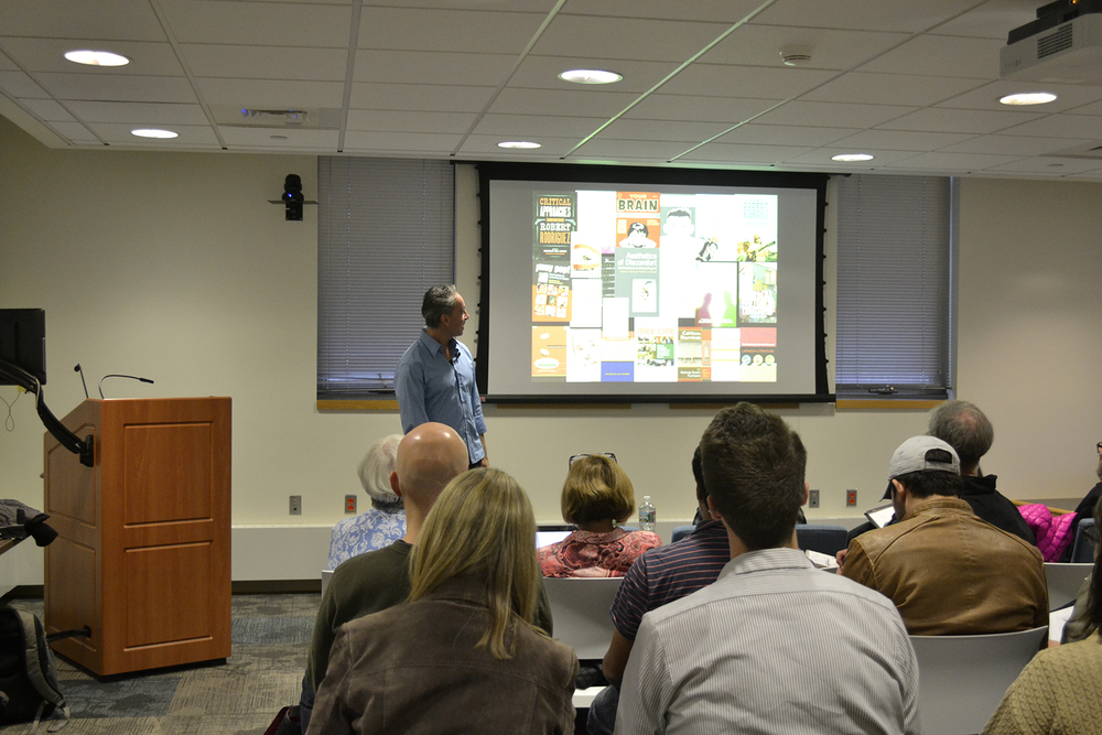 "Ohio State University professor Luis Aldama is seen during his presentation ""The Science of Storytelling"" on Monday, Nov. 2, 2015. (Rebecca Newman/The Daily Campus)"