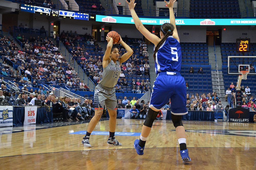 UConn women's basketball sophomore guard Gabby Williams looks for a pass during the Huskies' exhbition game against Division II Lubbock Christian at the XL Center in Hartford, Connecticut on Monday, Nov. 2, 2015. (Amar Batra/The Daily Campus)