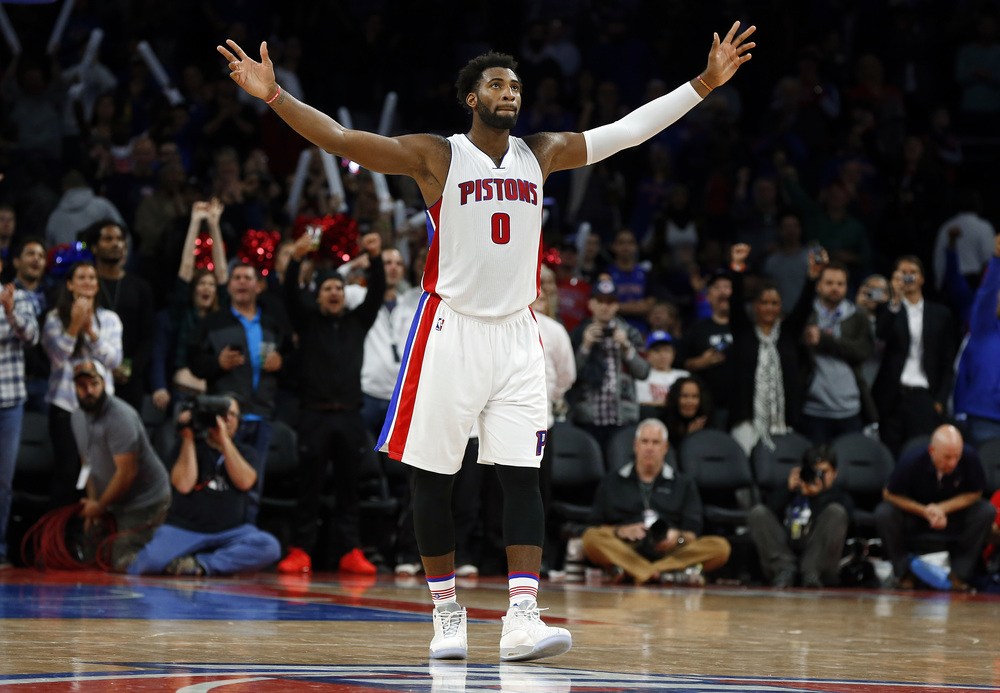 Detroit Pistons center Andre Drummond celebrates in the closing moments of a 92-87 victory over the Utah Jazz in an NBA basketball game Wednesday, Oct. 28, 2015, in Auburn Hills, Mich. (Paul Sancya/AP)