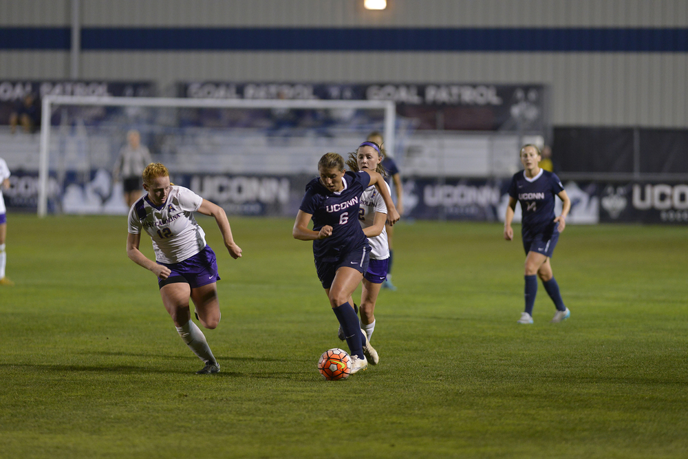 UConn redshirt senior forward Andrea Plucenik dribbles the ball during the Huskies' game against East Carolina at Joseph J. Morrone Stadium on Thursday, Oct. 8, 2015. UConn defeated the Pirates 3-1 in Dallas, Texas on Tuesday, Nov. 3, 2015 to advance to the American Athletic Conference semifinals. (Jason Jiang/The Daily Campus)