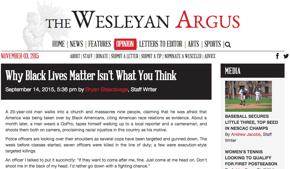 A screenshot of the editorial piece that unleashed a maelstrom of backlash from the student body and in turn slashed funding for The Wesleyan Argus. (Screenshot)