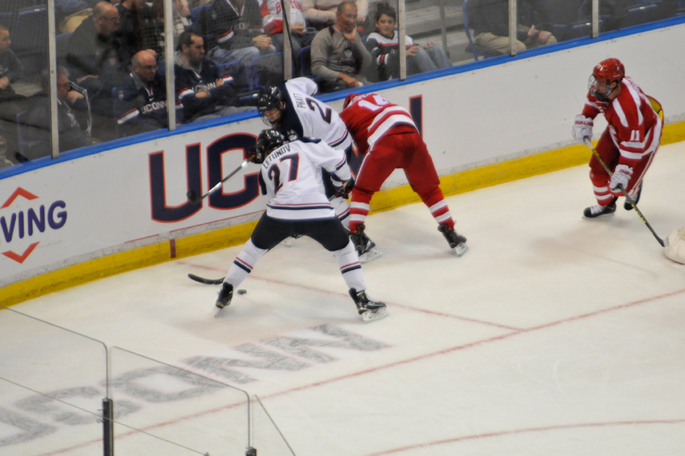 UConn men's ice hockey forward Max Letunov (27) is UConn's leading scorer this season. (Amar Batra/The Daily Campus)