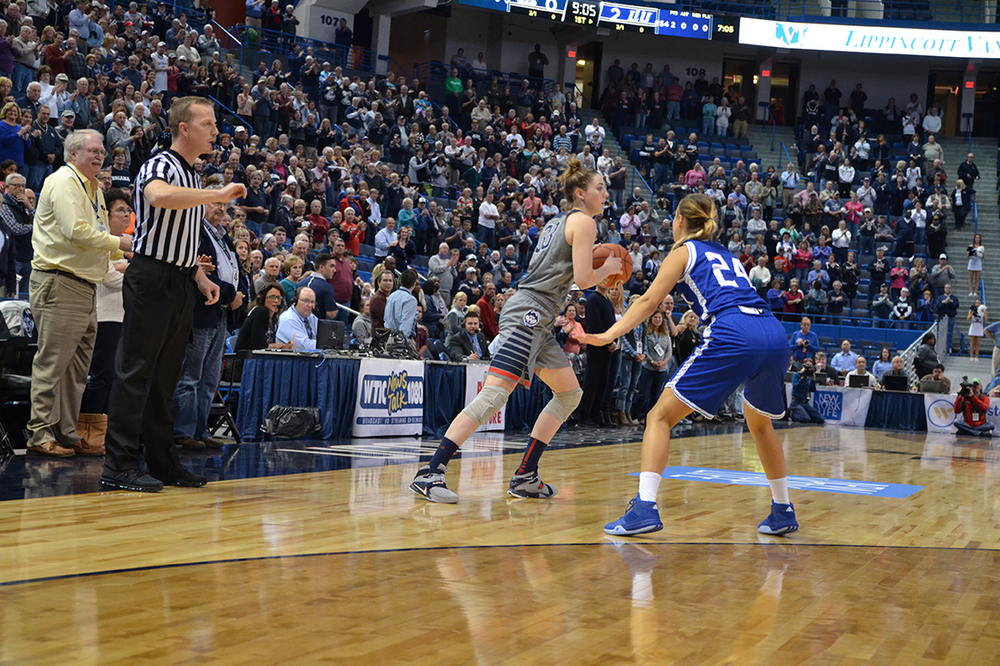 Freshman Katie Lou Samuelson initiates the offense during UConn's exhibition against Lubbock Christian. The Huskies were voted No. 1 in the AP poll this week. (Amar Batra/ The Daily Campus)