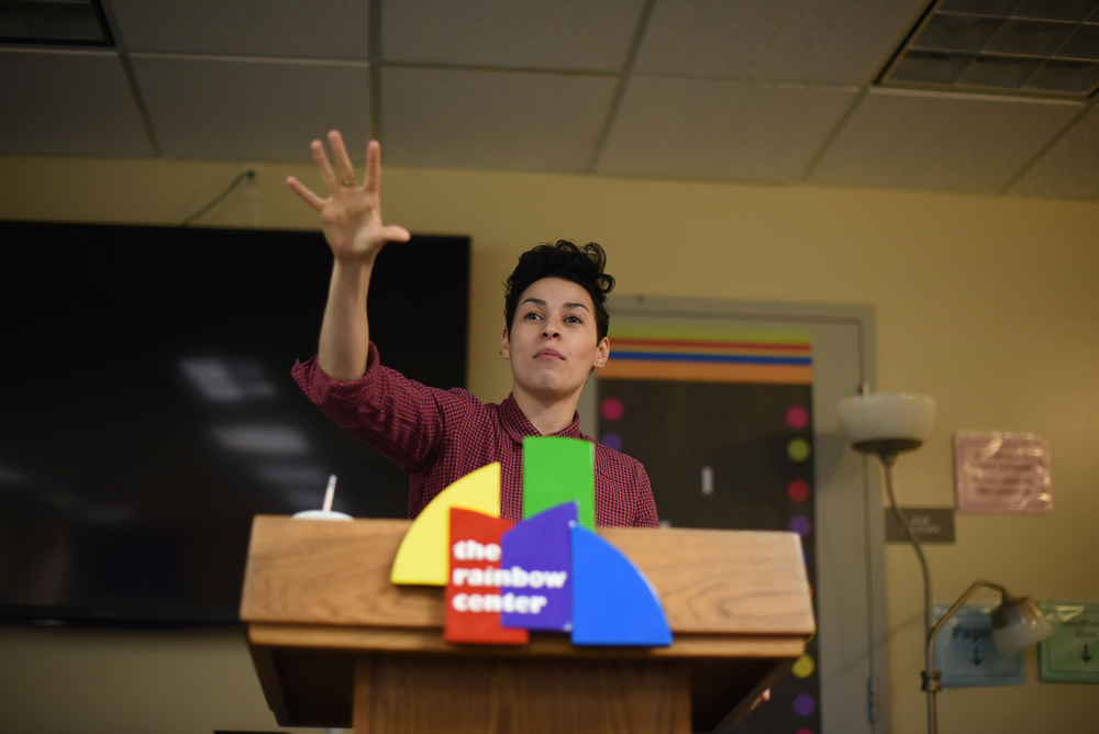 "Award-winning poet and educator Denice Frohman speaks to students, alumni and staff at the Rainbow Center on Thursday, Nov. 5, 2015 during her lecture ""Resistance, Otherness and Examining the Performance of Sexuality/Gender."" (Allen Lang/The Daily Campus)"