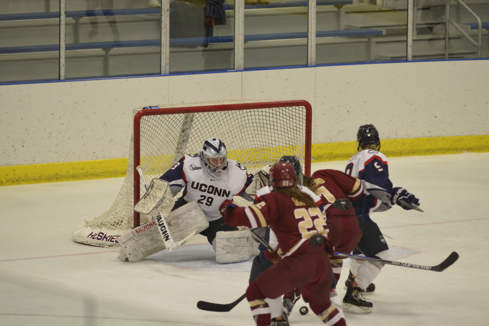 UConn goalie Elaine Chuli looks for the puck during a 4-0 loss to Boston College on Oct. 31, 2015. Chuli finished the game with 41 saves. (Jason Jiang/The Daily Campus).