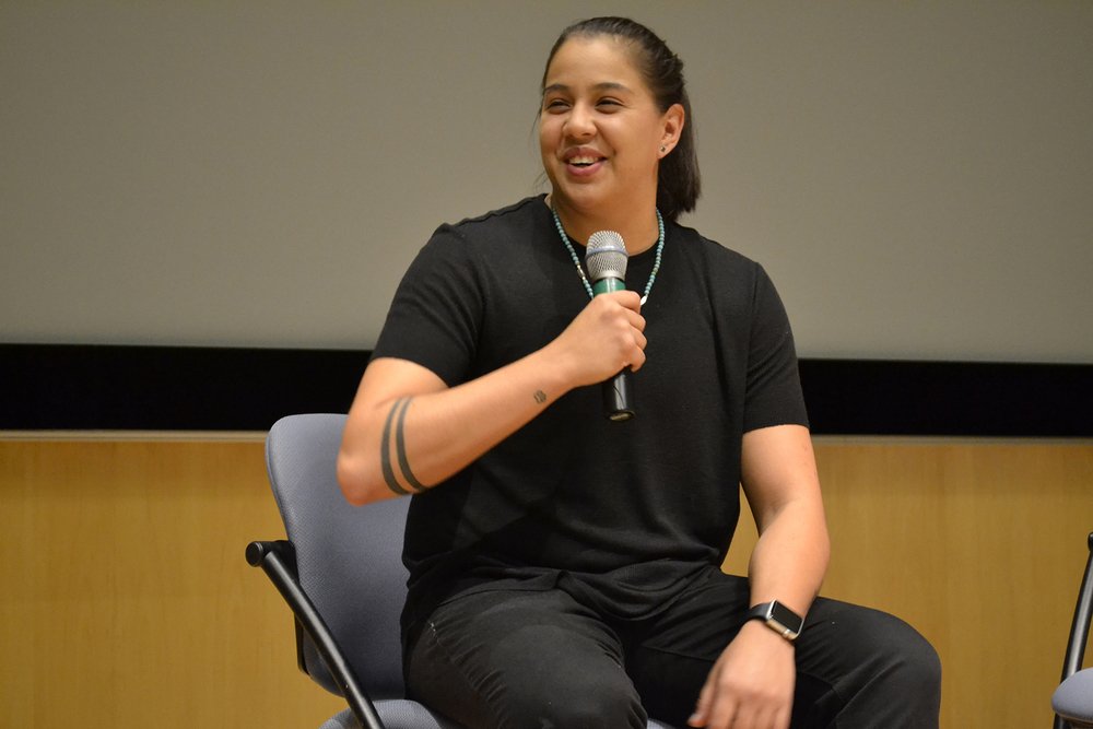 Atlanta Dream guard Shoni Schimmel speaks at the Student Union Theater in Storrs, Connecticut on Tuesday, Nov. 10, 2015. (Olivia Stenger/The Daily Campus)