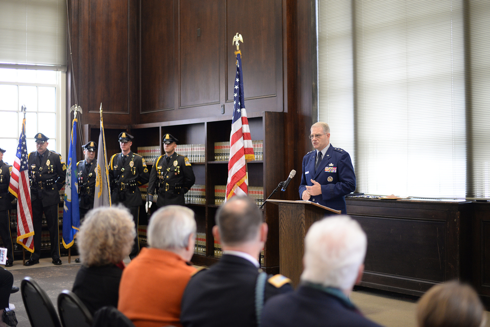 Keynote speaker, United States Air Force Major General (Ret.) and UConn graduate Joseph Ward speaks during a Veteran's Day ceremony honoring 1st Lieutenant John Michael Dunne in the Wilbur Cross North Reading Room in Storrs, Connecticut on Wednesday, Nov. 11, 2015. (Ashley Maher/The Daily Campus)