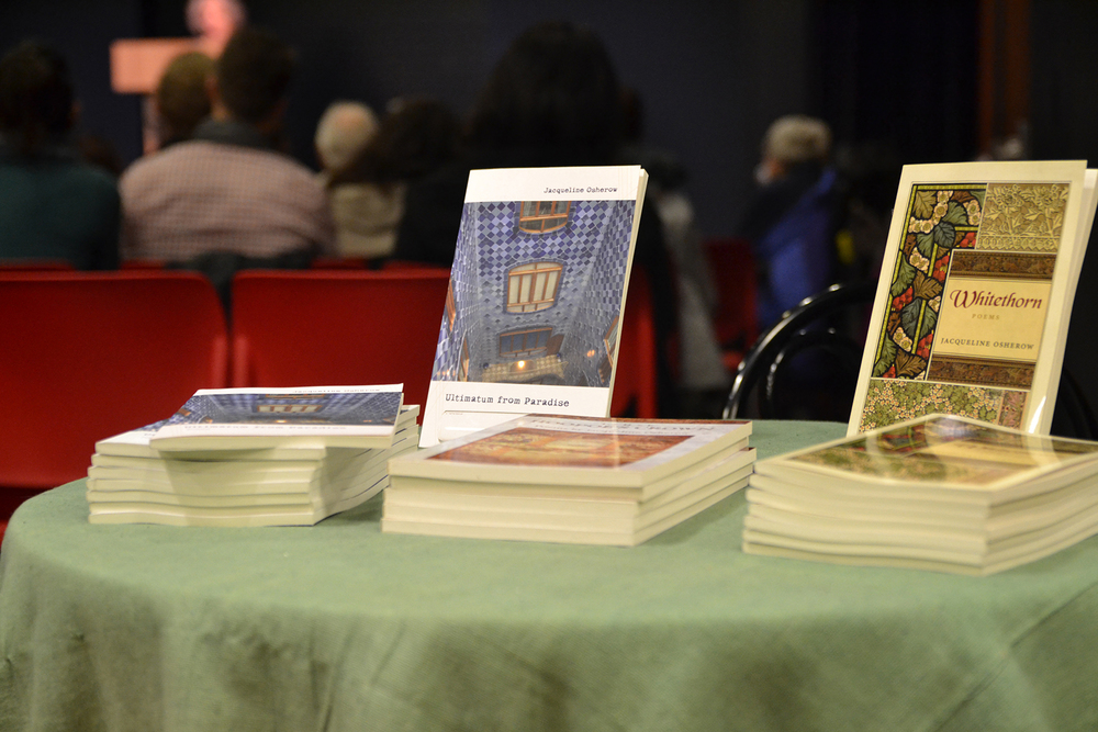 Two of poet Jacqueline Osherow's books are seen during her reading at the UConn Co-op Bookstore in Storrs Center on Wednesday, Nov. 11, 2015. (Amar Batra/The Daily Campus)