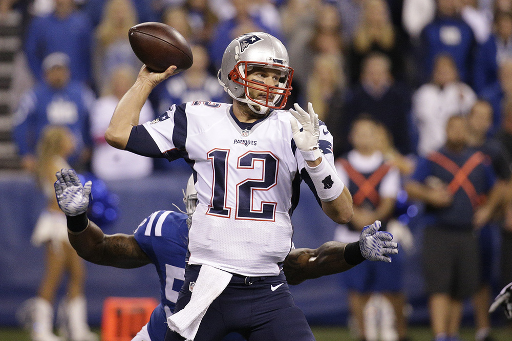 FILE - In this Oct. 18, 2015, file photo, New England Patriots quarterback Tom Brady (12) throws against the Indianapolis Colts in the first half of an NFL football game in Indianapolis. (AP).
