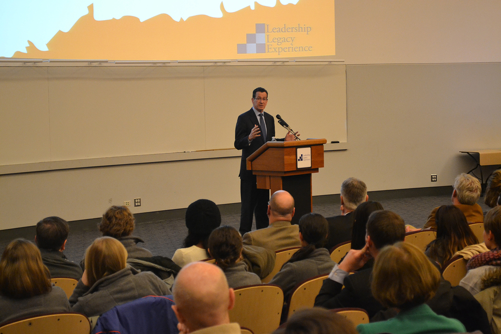 In this file photo, Connecticut Gov. Dan Malloy speaks in Laurel Hall at the University of Connecticut on Feb. 26, 2014. Malloy and Attorney General George Jepsen said they stand in support of the Clean Power Plan, developed by President Barack Obama and the Environmental Protection Agency (EPA). (File Photo/The Daily Campus)