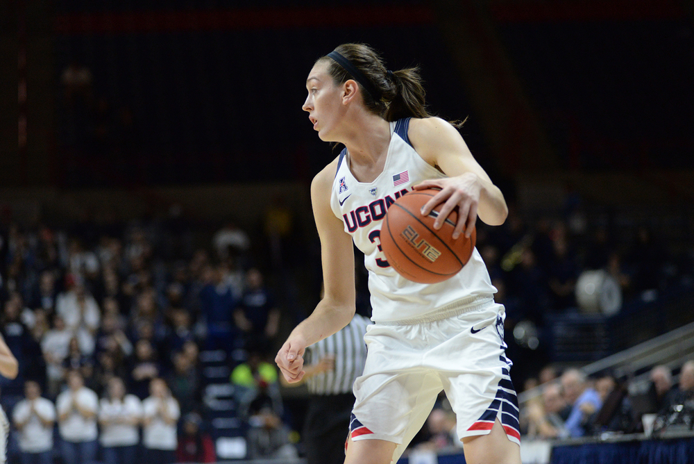 UConn women's basketball forward Breanna Stewart handles the ball during the Huskies' preseason game against Vanguard University on Sunday, Nov. 8, 2015. (Ashley Maher/The Daily Campus)