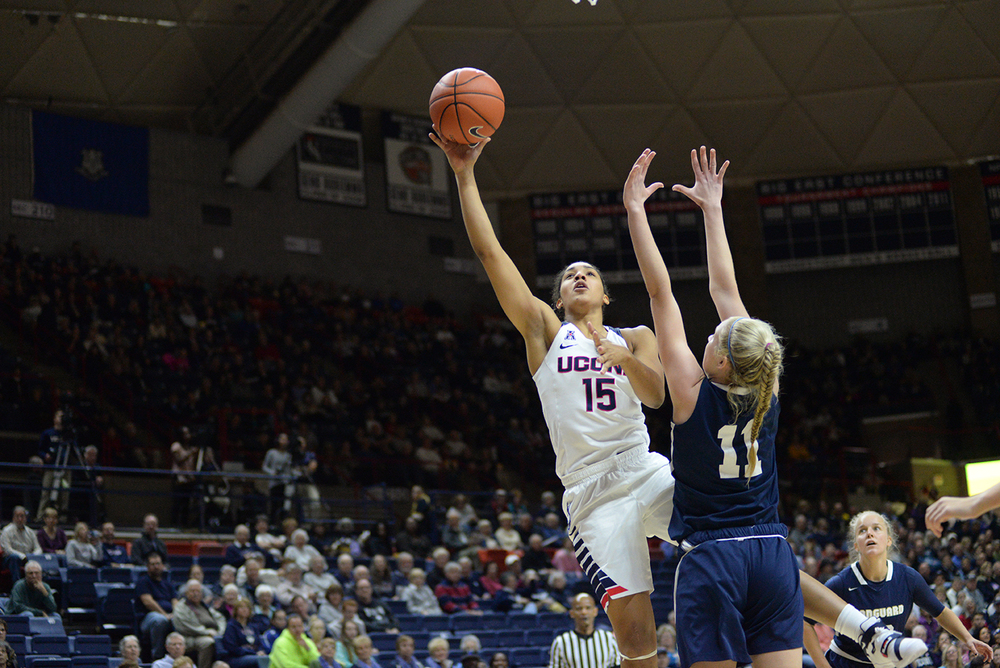 UConn sophomore guard Gabby Williams takes a shot during the Huskies' preseason exhibition game against Vanguard on Sunday, Nov. 8, 2015. (Ashley Maher/The Daily Campus)