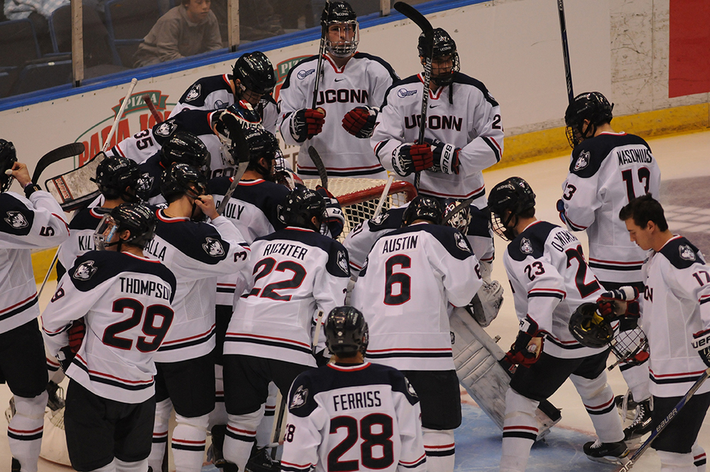 The UConn men's hockey team (3-8-0) lost their sixth-straight game Friday night as they fell to Hockey East rival Vermont 2-1 at the Gutterson Field House. The defeat dropped the Huskies to 1-6-0 in Hockey East play. (Amar Batra/The Daily Campus)