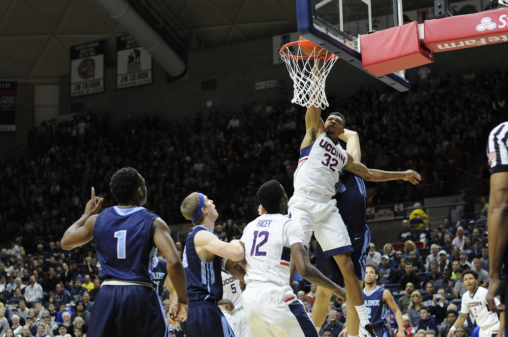 UConn men's basketball forward Shonn Miller dunks the ball during the Huskies' game against Maine at Gampel Pavilion in Storrs, Connecticut on Friday, Nov. 13, 2015. (Bailey Wright/The Daily Campus)