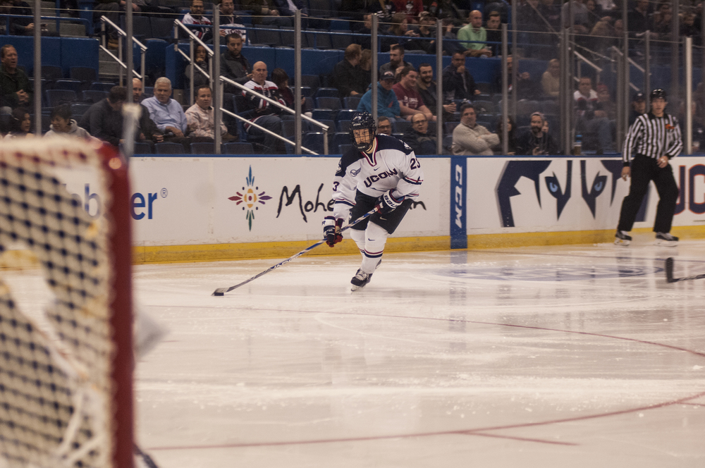 UConn sophomore forward Kasperi Ojantakanen handles the puck during the Huskies' game against Quinnipiac at the XL Center in Hartford, Connecticut on Tuesday, Nov. 17, 2015. UConn lost 6-2, extending its losing streak to seven games. (Courtesy/Stephen Quick)