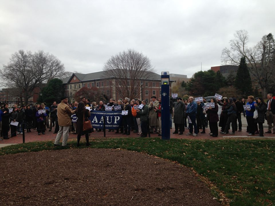 Members of the University of Connecticut graduate union, graduate senate, faculty, and graduate programs gathered outside of Wilbur Cross on Wed., Nov. 18 for academic freedom as defined by the American Association of University Professors (AAUP). (Courtesy/GEU-UAW UConn Graduate Employee Union Facebook page)