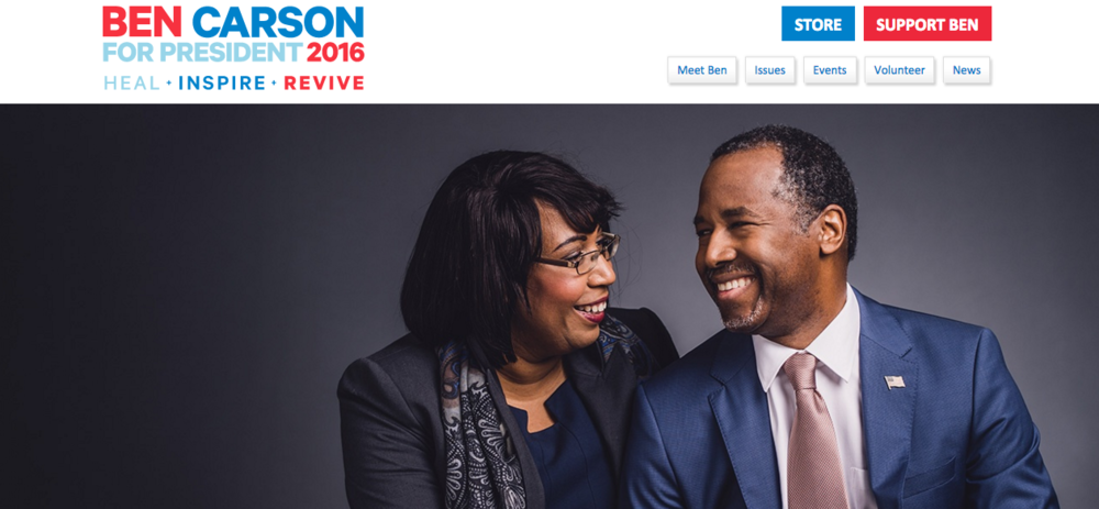 A screenshot of presidential candidate Ben Carson and wife Lacena Carson from Ben Carson's website. (Screenshot)
