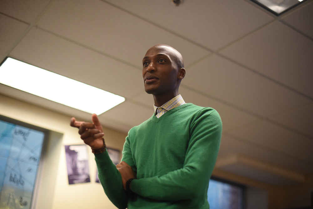 Daniel Trust, a survivor of the Rwandan Genocide, is seen speaking at the Rainbow Center in UConn's Student Union in Storrs, Connecticut, on Thursday, Nov. 19, 2015. Trust eventually immigrated to America, graduating from Bassick High School in Bridgeport and then from Southern Connecticut State University. (Allen Lang/The Daily Campus)