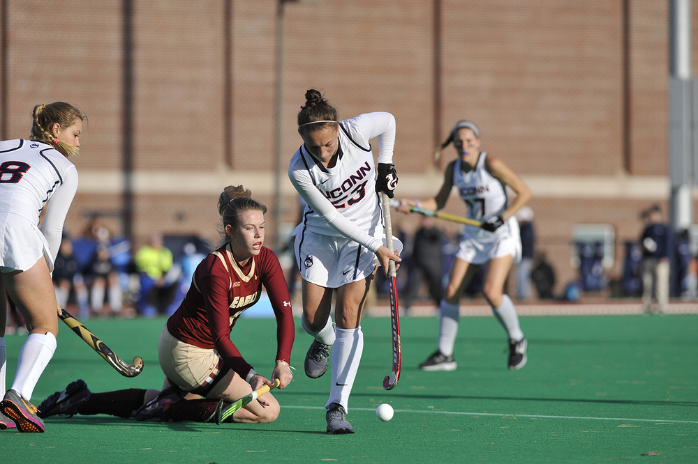 UConn graduate student midfielder Pippa Lewis fights for the ball during the Huskies' game against Boston College at the Sherman Family Sports Complex on Sunday, Nov. 15, 2015. (Jason Jiang/The Daily Campus)