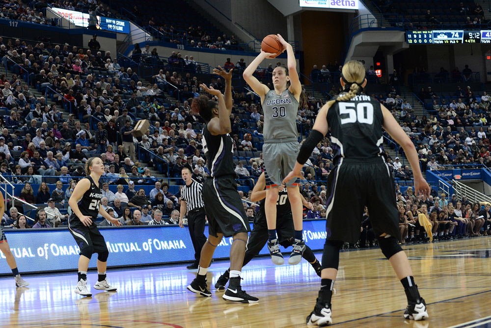 UConn women's basketball forward Breanna Stewart takes a shot during the Huskies' game against Kansas State at the XL Center in Hartford, Connecticut on Monday, Nov. 23, 2015. Stewart scored her 2,000th career point in the win. (Ashley Maher/The Daily Campus)