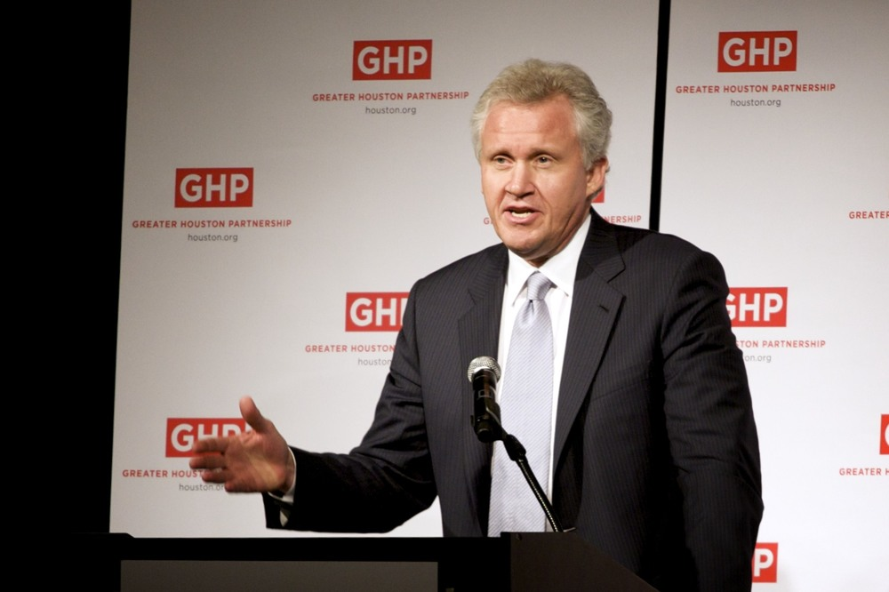 "General Electric chairman Jeffrey Immelt. Immelt sent an internal memo regarding the corporation's search for a new location, as, in his words, GE requires ""a more pro-business environment."" (eschipul/Flickr)"