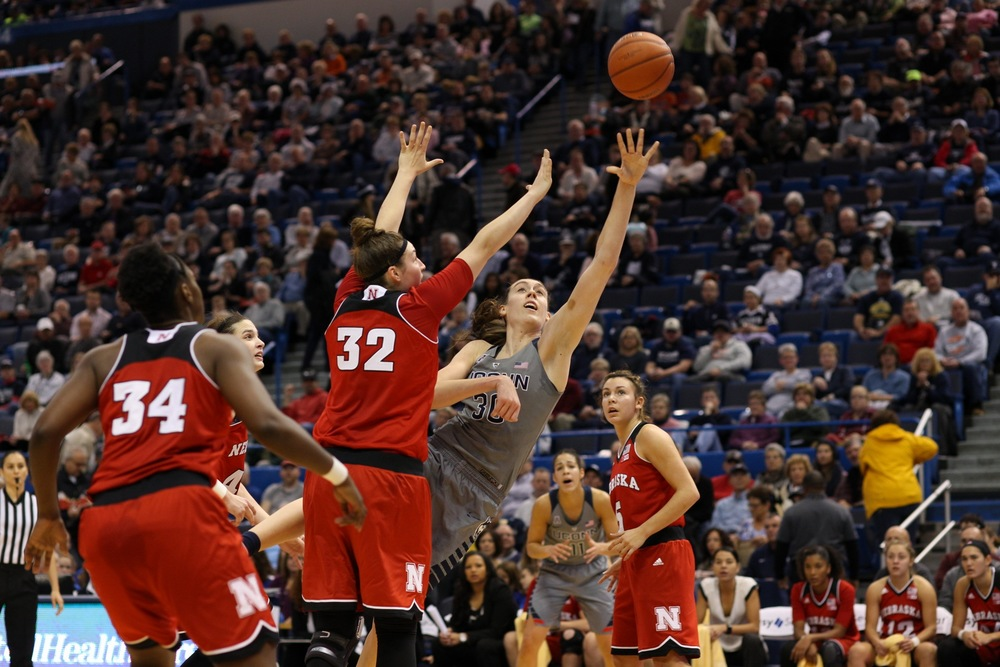 UConn forward Breanna Stewart looks toward the basket during the Huskies' game against Nebraska at XL Center in Hartford, Connecticut on Saturday, Nov. 28, 2015. Stewart finished with 25 points, going 10-for-11 from the field. (Jackson Haigis/The Daily Campus)